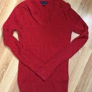 Tommy Hilfiger red v-neck cable knit sweater